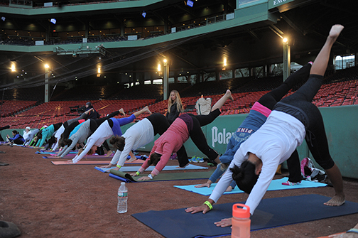 Last year's FenwaYoga session. How cool is this?! (Courtesy Boston Red Sox).